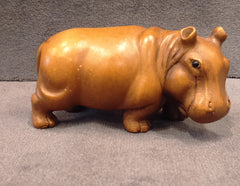 Wood Carved Hippo Mini