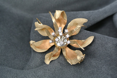 Jewelry Flower Brooch Diamonds 18k Three Color Gold