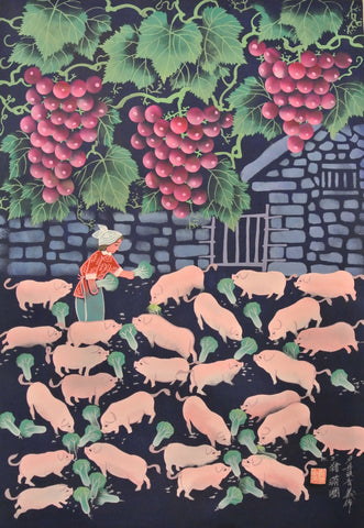 Poster Color Peasant Painting Pigs Farm