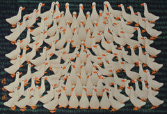 Poster Color Peasant Painting Hundred White Ducks