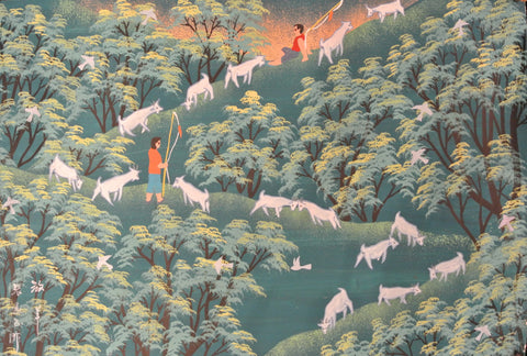 Poster Color Peasant Painting Mountain Goats