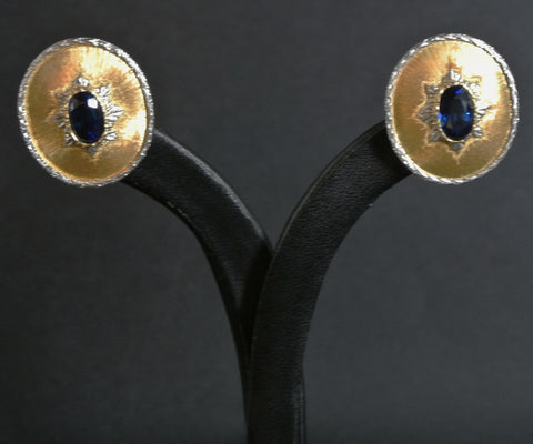Jewelry Blue Sapphire Earrings 18k Two Color Gold