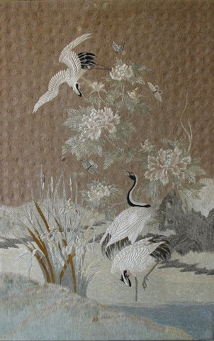 Textile Japanese Wall Hanging Tapestry Cranes & Flowers