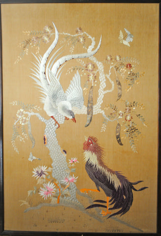 Textile Japanese Wall Hanging Tapestry Phoenix & Cockerel