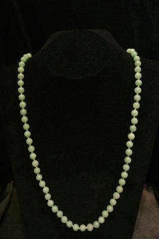 Jade Necklace Green Beads Jadeite 14k Gold Clasp