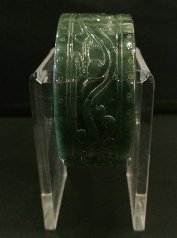 Jade Bangle Cuff Omphacite Incised Dragon Phoenix