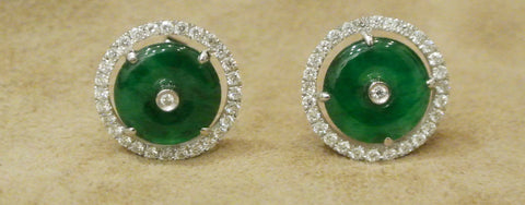 Jade Earrings  Green Jade Diamonds Studs Jadeite