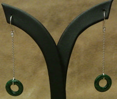 Jade Earrings Disc Diamond Dangles
