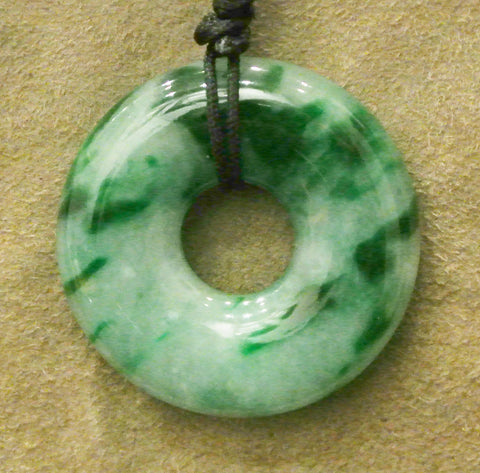 Jade Pendant Disc Speckled Greens Jadeite