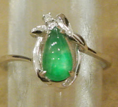 Jade Ring Pear Shape Jadeite Diamonds