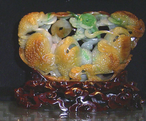Jade Carved Jade Toads With Coins