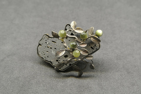 Jewelry Silver Cat's Eyes and Basalt Brooch