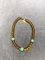 Jade Necklace Beijing Yellow Glass Beads