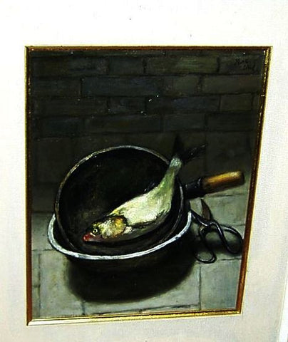 Painting Oil On Canvas Fish In a Pan