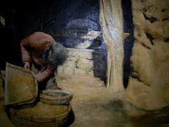 Painting Oil On Canvas Woman Sieving Grain