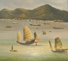 Painting Oil On Canvas Old Hong Kong