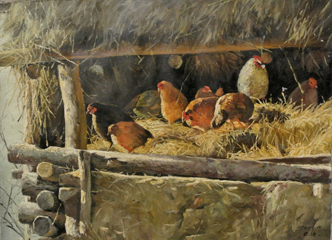 Painting Oil On Canvas Les Poules