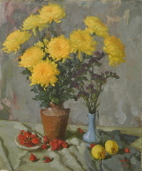 Painting Oil Still Life Flowers Chrysanthemums
