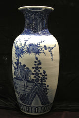 Porcelain Blue White Vase Cranes Flowers