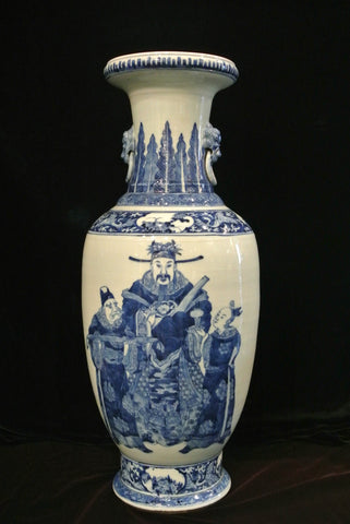 Porcelain Blue White Vase Fortune God