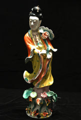 Porcelain Guanyin With Lotus Flower