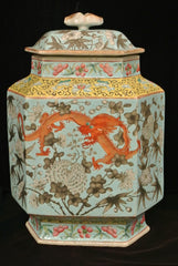 Porcelain Hexagon Vase Dragons & Cover