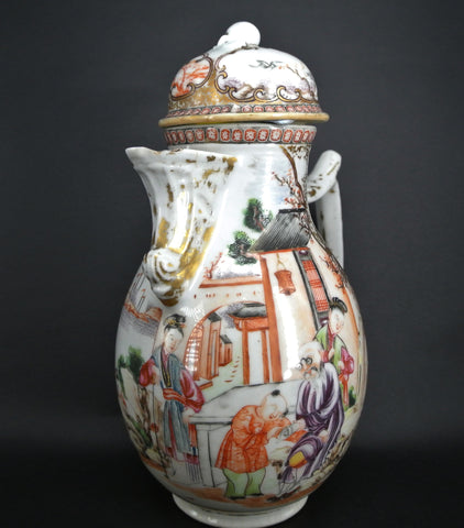 Porcelain Mandarin Export Coffee Pot