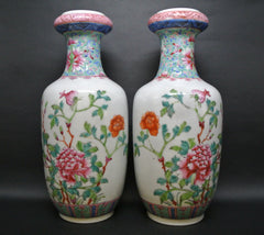 Porcelain Rouleau Vases Famille Rose Peonies