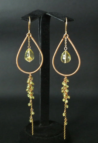 Jewelry Silver Gold Fill Lemon Quartz Hook Earrings