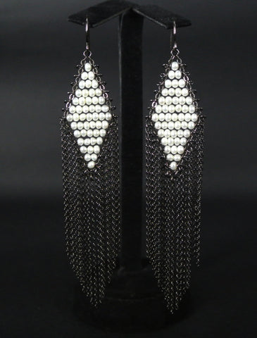 Jewelry Silver Seed Pearls Dangles Earrings