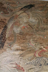 Textile Japanese Wall Hanging Tapestry Phoenix & Dragon