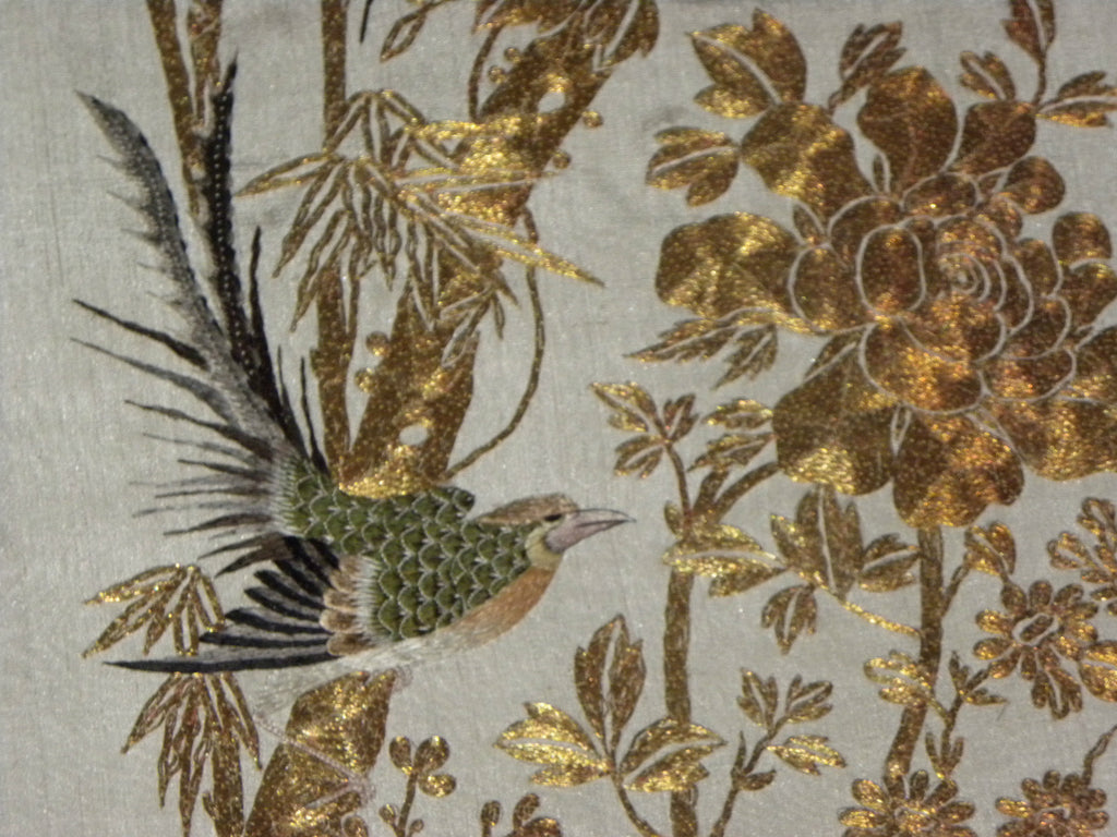Textile japanese wall hanging embroidery gold thread birds
