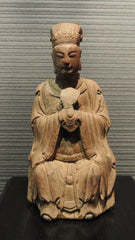 Wood Carved Chinese Male Official Folded hands