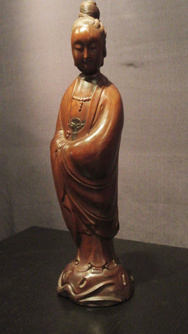 Wood Carving Guanyin Standing With Eyes Downcast