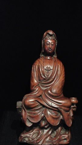 Wood Carving Blackwood Guanyin Seated on Platform