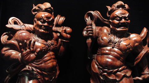 Wood Carving Large Temple Guardians Om Ah