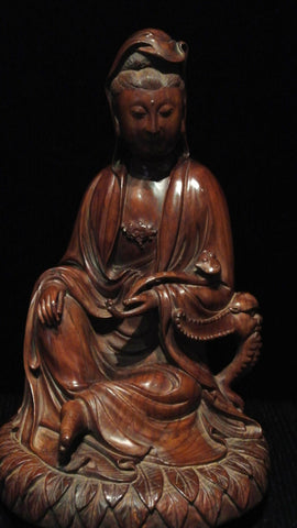 Wood Carving Pine Wood Quanyin Sitting on Lotus