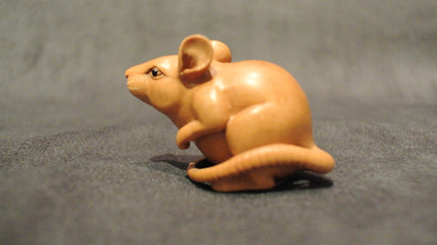Wood Carving Rat Boxwood Netsuke Chinese Zodiac