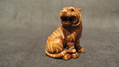 Wood Carving Tiger Boxwood Netsuke Chinese Zodiac