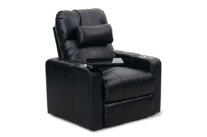 HT Design Easthampton Home Theater Seating Recliner with Tray Table and Optional Pillow
