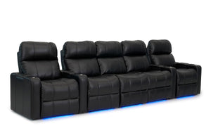 ht design pembroke home theater seating with power headrest row of 5 with sofa