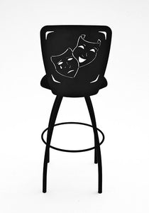 home theater swivel comedy tragedy bar stool rear