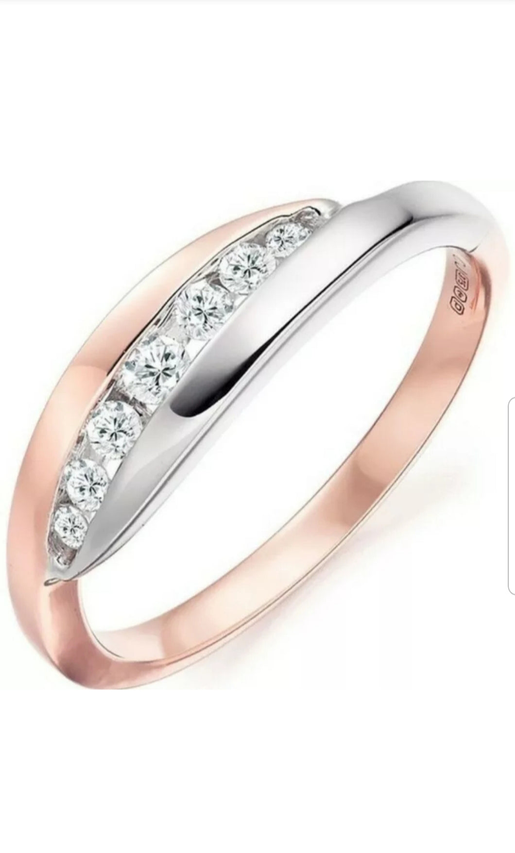 White Sapphire 925 Sterling Silver Rose Gold Plated 18k Ring Size 10