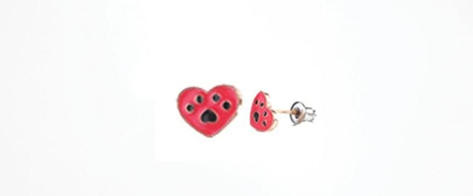 Red Heart Paw Print Earrings Hypoallergenic