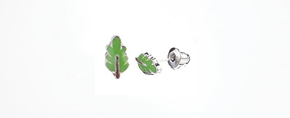 Green Leaf Earrings Hypoallergenic