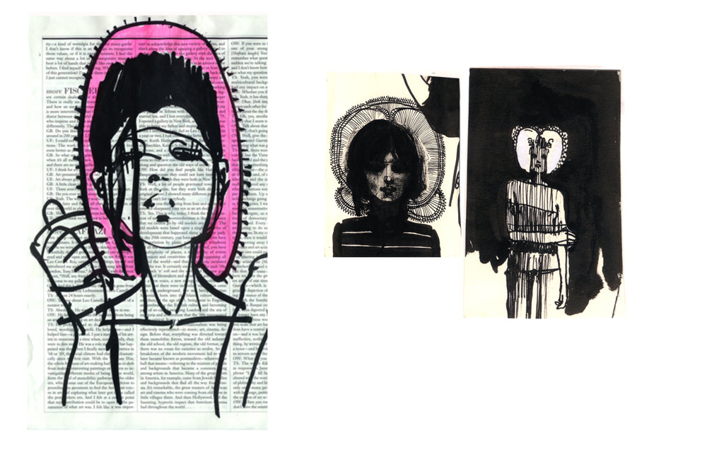 3three drawings by Petra Lunenburg in pen and ink and black marker 2008