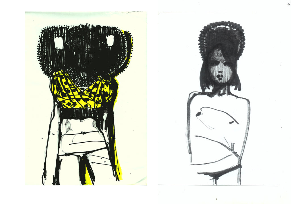 two drawings by Petra Lunenburg in marker of two girls wearing head pieces.