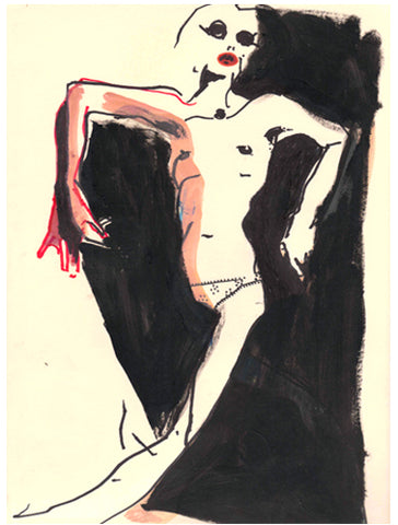 nude in dark hazy dolls marker on light yellow paper 2010