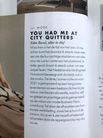 Text in February issue of ELLE NL on the Summer '21 Humanoid collection with illustrations by Petra Lunenburg