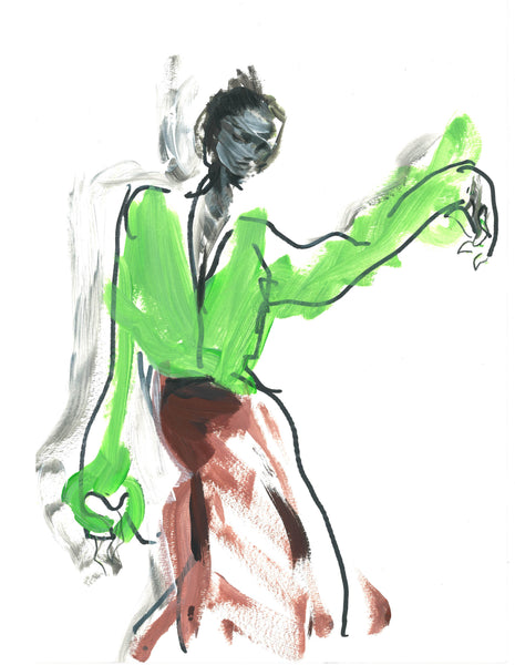 Outfit of Victoria Beckham ss20- original artwork drawn by Petra Lunenburg for Kath-A-Porter. Drawn and painted in Acrylic paint and oil pencil on heavy paper A3 format. Year 2020.